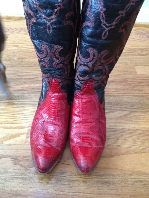 Great Cowgirl Boots Vintage Pair of Larry Mahan Red Snakeskin and Black Leather 8 1/2 Boots...