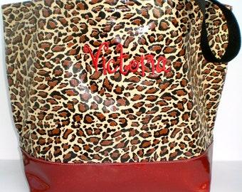 Jaguar Brown Beach Tote  With Red Sparkle Vinyl  Bottom Monogrammed