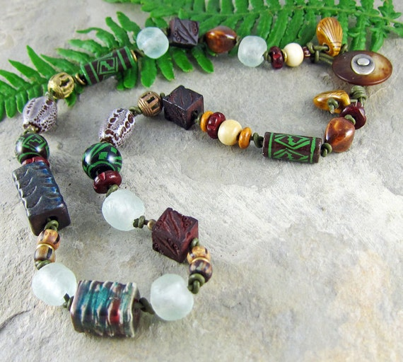 Handmade Raku Necklace Rustic Recycled Glass Ceramic Leather Wood Button Clasp