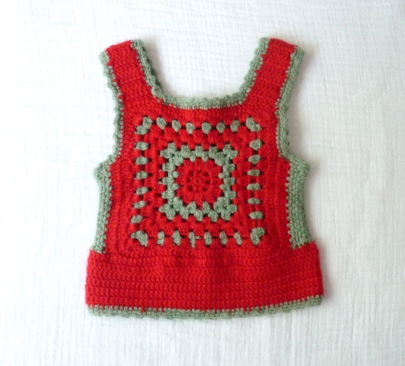 Vintage crochet vest, 2T 3T. Red and gray wool granny square design.