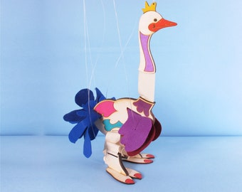 Blue, Bird, Marionette, Wooden Toy, for Kids, Wood Bird, Marionette, Room Decoration .