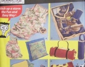 Simplicity 4745 UNCUT Sewing Pattern For Dummies for Fleece Pillow in a Quilt Blanket and Carry Bags