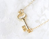 Gold sideways key necklace- delicate 14k gold filled chain- modern minimalist jewelry for everyday by noa noa