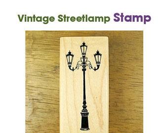 Vintage Streetlamp Rubber Stamp **