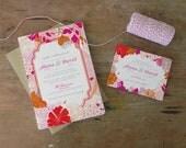 DIY Printable Wedding Invitation Netherfield Pink - 4 pieces