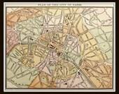 Antique Paris City Map Plan 8x10 Art Print Home Decor French Wall Hanging Map