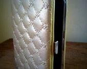 Rare off white or light gold quilted mad men vintage 60's cigarette case holder