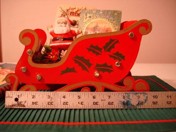 Santa's Sleigh Wooden with Box Christmas Card Holder Free Ship