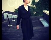 Sheer Knee-Length Black Dress