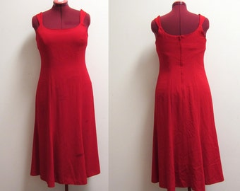 Late 80s Red Dress with Full Skirt and Wide Shoulder Straps - Summer Wedding Cocktail - Size 11 12