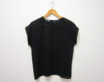 1980s Sheer Black Sleeveless Tank Top with Black Glitter - Hipster Glam New Wave Goth Noir Dark - Medium