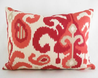 Lumbar Pillow Cover ANY SIZE Decorative Pillows Red Pillow Ikat Pillow Duralee Rasul Berry