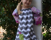 Girls' Long-Sleeve Tunic/Shift Dress -       A-Line - Grey Chevron with Purple and Pink Patchwork- Made to Order