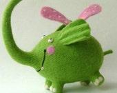 Needle Felted Toy-Green elephant-Felt Toys