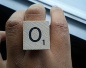 What's My Name Ring O: Wooden Scrabble Initial Letter Ring
