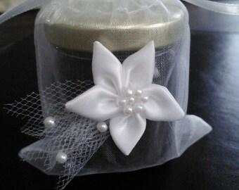 Winter Jam Favors/ 25 favors/ Winter White Wedding / First Communion-Baptism / Bridal Shower or Anniversary Favors/ Flower-Pearl Bag Incl