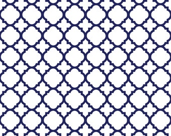 Navy and White - Lattice, Quatrefoil, Fleur Di Lis Shower Curtain, Custom Monogrammed Curtain