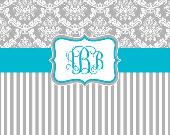 Damask and Stripe - Gray and Turquoise Shower Curtain - Any Color Band - Personalized Shower Curtain, Custom Monogrammed Curtain