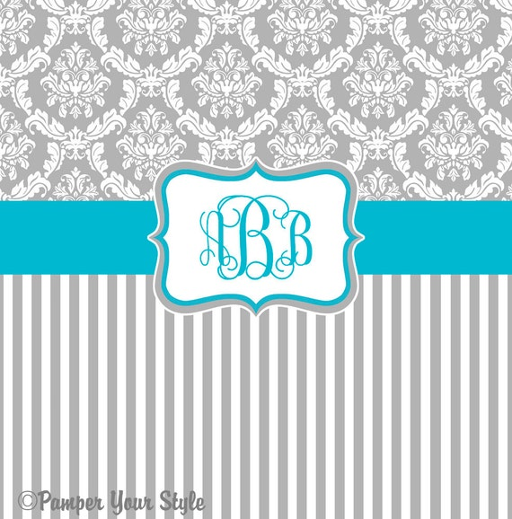 Damask And Stripe Gray And Turquoise Shower Curtain Any