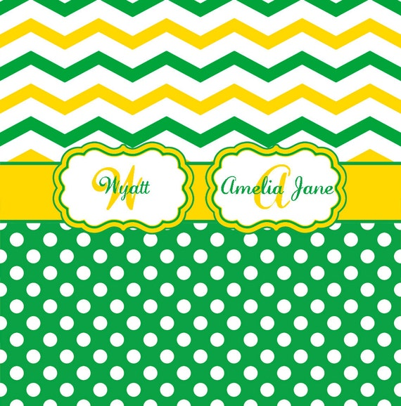 Chevron and Polka Dot Green and Yellow Personalized Shower Curtain ...