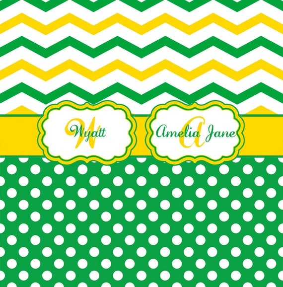 Chevron and Polka Dot Green and Yellow Personalized Shower