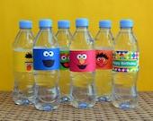 6 Sesame Street Water Bottle Labels, Elmo Water Bottle Labels, Cookie Monster Labels, Sesame Street Birthday Labels, Sesame Street Favor,