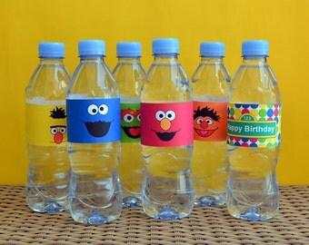6 Sesame Street Water Bottle Labels, Elmo Water Bottle Labels, Cookie Monster Labels, Sesame Street Birthday Labels, Sesame Street Favor