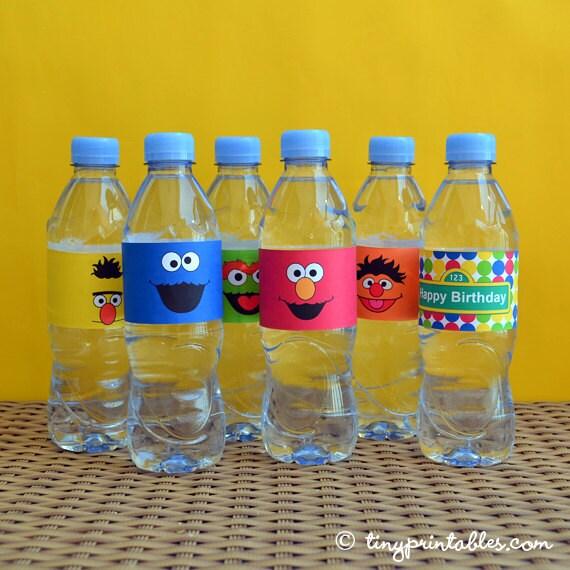 6 Sesame Street Water Bottle Labels Elmo Water Bottle Labels