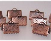 Antique copper tone plated finish ribbon crimp ends 10mm x 7mm// Ribbon end terminators// Crimp ends// Terminator end//DIY jewelry end crimp