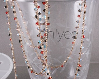 3FT(1M)- Chain Lacy Multi Color Seed Bead, Gold Plated over Brass / 2.6mm(N106-G)