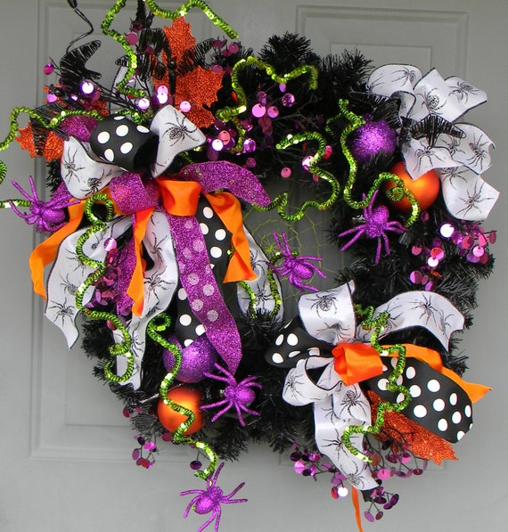 Halloween Wreath...Whimsical...Spiders and Bats...OH MY...