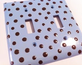 Baby Blue Double Switchplate with Brown Polka Dots