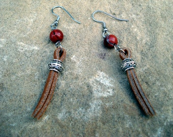 Leather and Silver Beaded Dangle Earrings