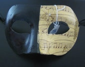 Domino Mask- half music paper for Masquerade / Masked Ball