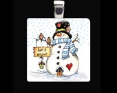 30mm SNOWMAN with birds country upcycled GLASS scrabble tile necklace pendant jewelry holiday birthday