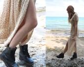 Dusty Rose - vtg 90s GRUNGE micro FLORAL MAXI dress wrap empire waist thigh slit short sleeved women's English Tea