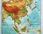 Vintage School Map - East and Southeast Asia, 1969 (political)