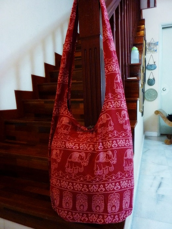 Thai Hobo Cross body Bag - Hippie style - Elephant Floral Prints (XL size) - Red
