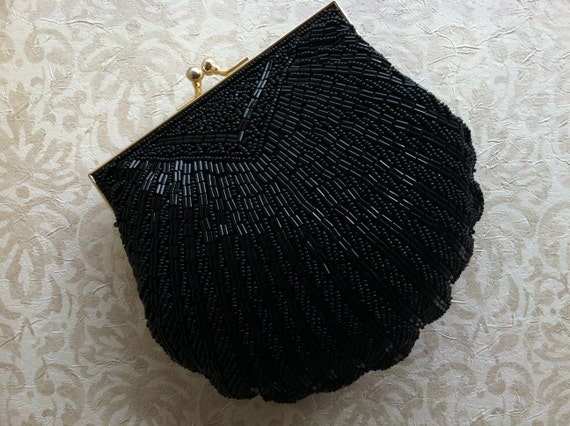 Black Formal Clutch Beaded Art Deco with Scalloped Edges