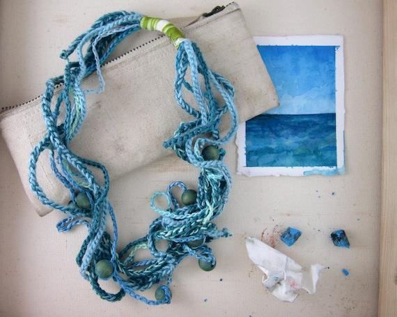 Sea Strand Beaded Blue Necklace - Multistrand - Brilliant Fall Blue Sky Accessory