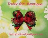 Hair Bow - Hair Accessories - Christmas Plaid Girl Hair Bow - Christmas Holiday Plaid Boutique Hair Bow Set For Girls
