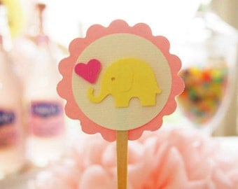 Pastel Baby Elephant Cupcake Toppers: Perfect for Baby Showers and Children's Birthday Parties