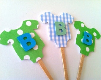 """Blue/Green """"B is for Baby"""" Onesie Cupcake Toppers: Perfect Decoration for Baby Showers"""