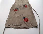 Girls Bugs dress - gray linen dress - Gray flower girl dress - painted dress - unit work - Hand painted -ON ORDER ONLY - children clothing