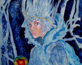Art Nouveau Silk Original batik handpainted  The Snow Queen.