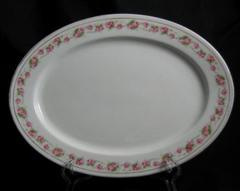 "Vintage Oval Platter - 11 3/4"" - Heinrich Bavaria China - Marquis Pattern - Pink Roses - Selb - Made in Germany - H & Co. China"