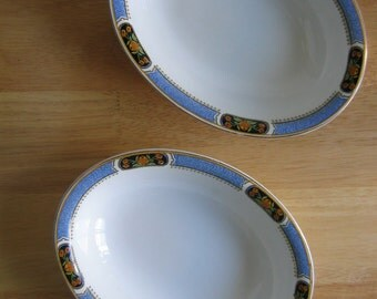 """2 J & G Meakin Oval Vegetable Bowls - Blue Band with Orange Flowers 9"""" - SOL - Made in England"""