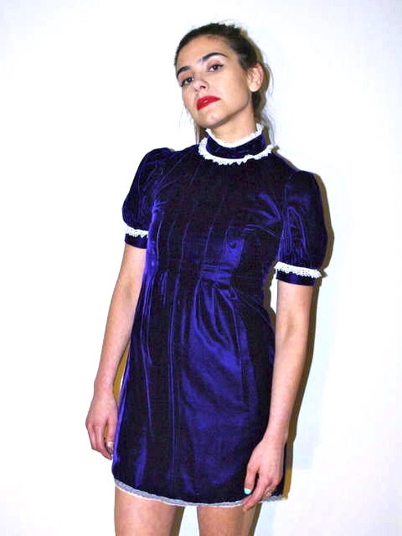 Vintage Velvet Lace Detailed Violet Victorian Babydoll Cut Mini Dress