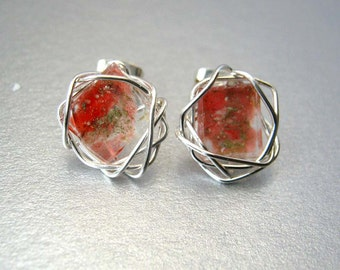 Red Stud Earrings, Mosaic Art Glass, Unique Silver Wire Wrapped Post Earrings, Small Stud Earrings, Art Glass, Gift Ideas
