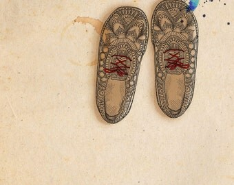 Aztec Shoes - ink, watercolour & collage illustration print on archival paper